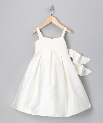 White Silk Dress - Toddler & Girls