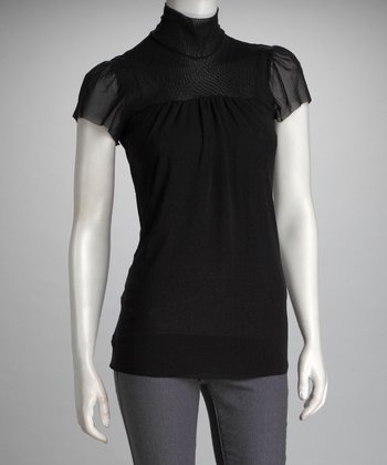 Black Mesh Cowl Neck Top