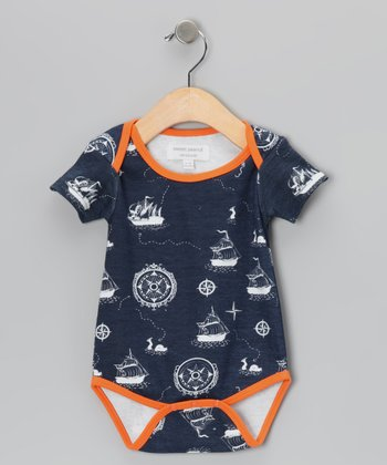 Navy & Orange Galleons Away Organic Bodysuit