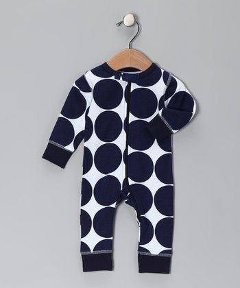Navy Polka Dot Organic Playsuit
