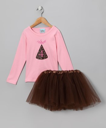 Sweet Petunia Pink '4' Tee & Tutu - Toddler & Girls