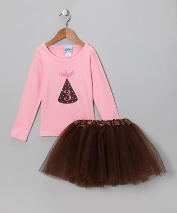 Sweet Petunia Pink '3' Tee & Tutu - Toddler & Girls