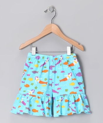 Turquoise Mermaid Society Shorts - Infant, Toddler & Girls
