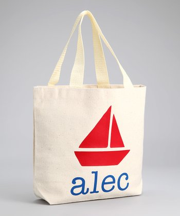 Blue Sailboat Personalized Tote