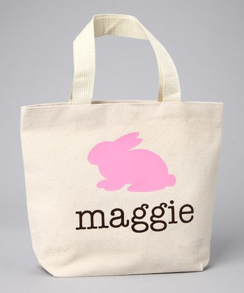 Natural & Pink Bunny Personalized Tote