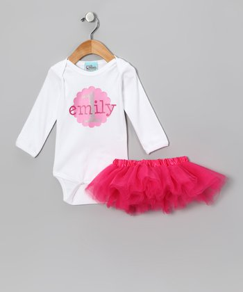 Sweet Petunia Pink & White Personalized Bodysuit & Tutu - Infant