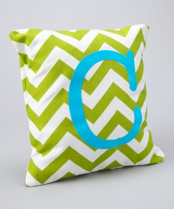 Apple & Aqua Chevron Initial Pillow
