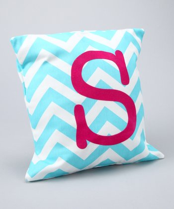 Fuchsia & Aqua Chevron Initial Pillow