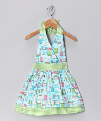 Turquoise Window Jane Halter Dress - Infant, Toddler & Girls