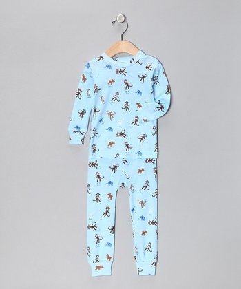 Blue Monkey Business Pajama Set - Infant & Toddler