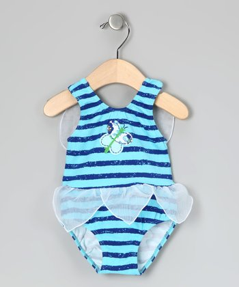 Blue Stripe Butterfly One-Piece - Infant & Toddler