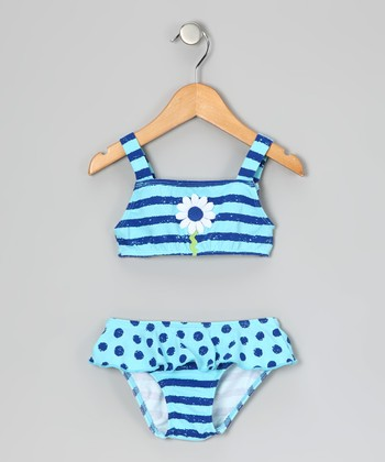 Blue Stripe Daisy Skirted Bikini - Infant, Toddler & Girls