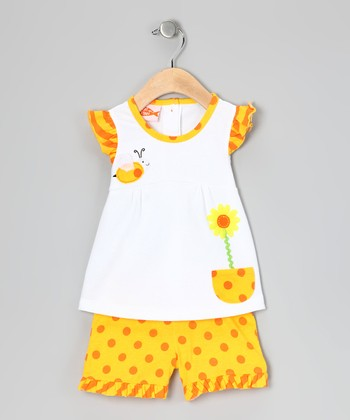 Yellow & White Bee Angel-Sleeve Tunic & Shorts - Toddler & Girls