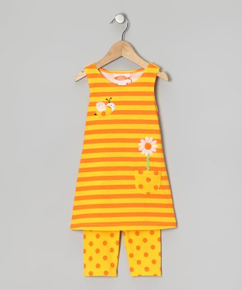 Yellow Stripe Dress & Capri Leggings - Girls