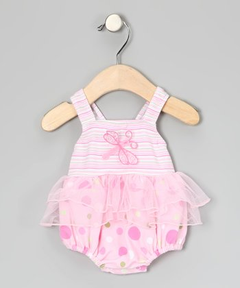 Pink Dragonfly Skirted One-Piece - Infant
