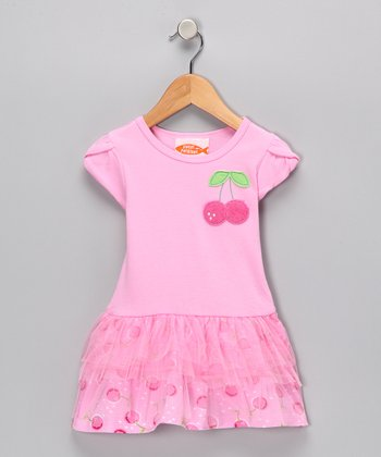 Pink Cherry Ruffle Drop-Waist Dress - Infant & Toddler