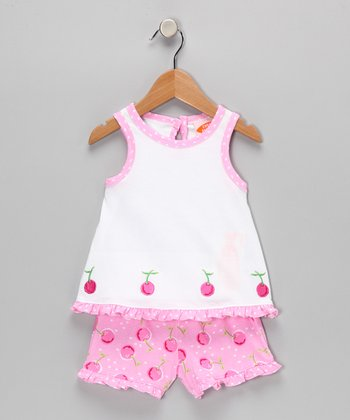 White Cherry Top & Pink Shorts - Infant, Toddler & Girls