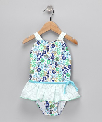 Blue Ruffle Skirted One-Piece - Infant, Toddler & Girls