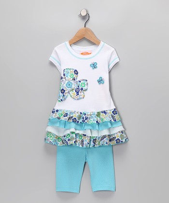 White & Aqua Flower Ruffle Tunic & Leggings - Infant & Toddler