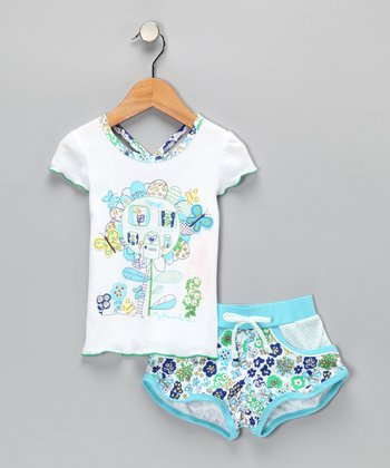 White & Aqua Flower Tee & Shorts - Infant