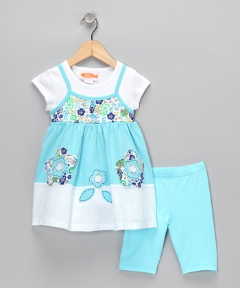 White & Aqua Flower Tunic & Leggings - Infant, Toddler & Girls
