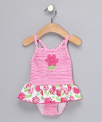 Pink Posy Skirted One-Piece - Toddler & Girls