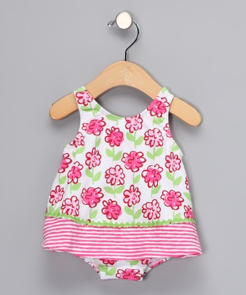 Pink Posy Skirted One-Piece - Infant