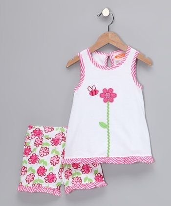 White & Pink Posy Swing Top & Shorts - Toddler