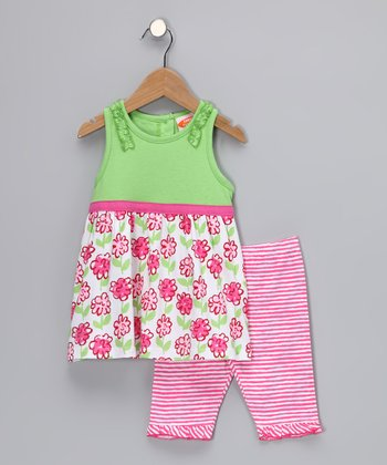 Lime & Pink Posy Tunic & Leggings - Toddler