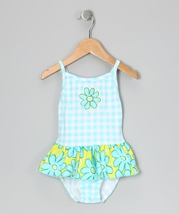 Aqua Gingham Skirted One-Piece - Infant