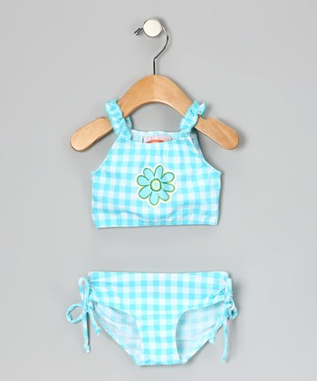 Blue Gingham Flower Tankini - Infant