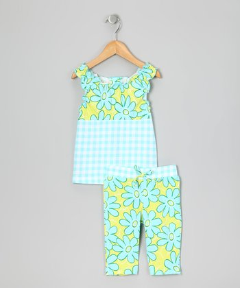 Aqua Floral Top & Leggings - Infant, Toddler & Girls