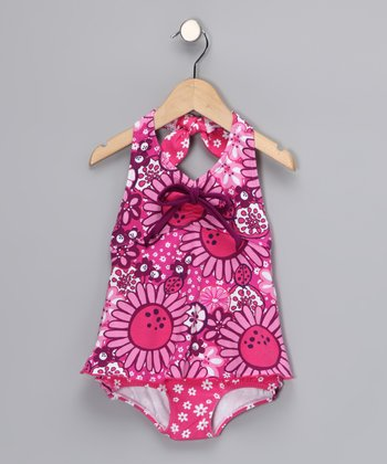 Hot Pink Retro One-Piece - Infant