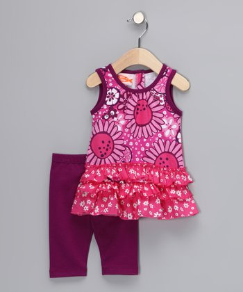 Hot Pink Bloom Ruffle Tunic & Leggings - Infant & Toddler