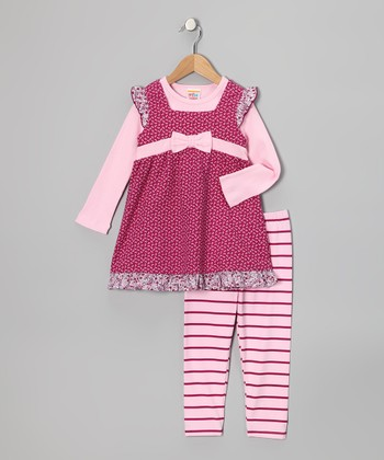 Raspberry & Pink Layered Tunic & Leggings - Infant & Toddler