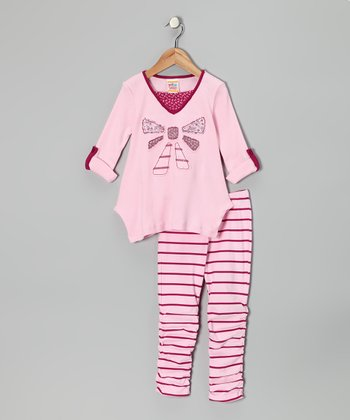 Light Pink Bow Tunic & Stripe Leggings - Infant & Toddler