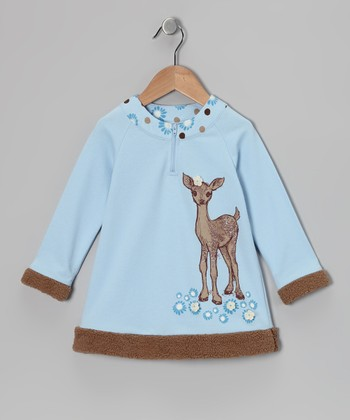Light Blue Fawn Shearling Tunic - Infant, Toddler & Girls