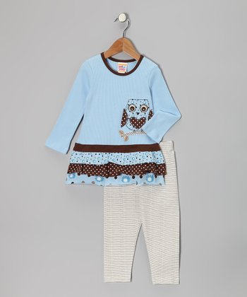 Light Blue Owl Tunic & Leggings - Toddler & Girls
