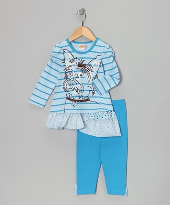 Blue Asymmetrical Tunic & Leggings - Infant