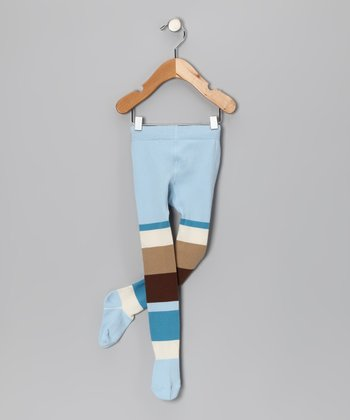 Light Blue & Brown Tights - Infant