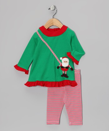 Green Santa Dress & Pink Leggings - Infant, Toddler & Girls