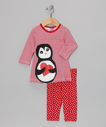 Red Penguin Dress & Heart Leggings - Infant, Toddler & Girls