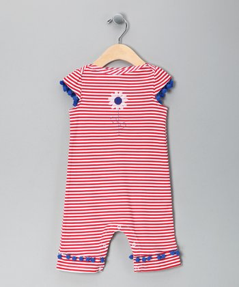 Red Stripe Daisy Playsuit - Infant