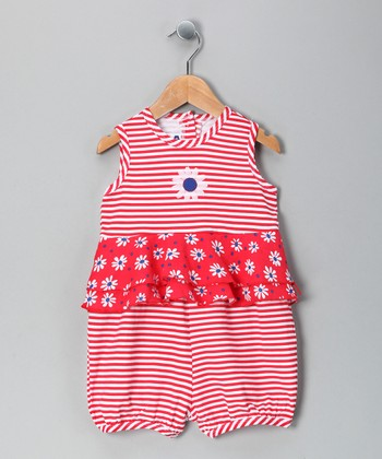 Red Daisy Ruffle Romper - Infant