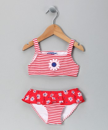 Red Daisy Ruffle Bikini - Infant & Toddler