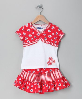 Red & White Daisy Layered Tee & Skirt - Toddler & Girls