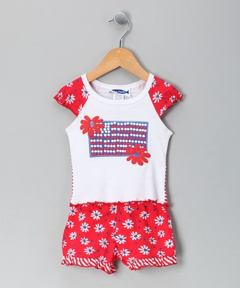Red & White Flag Tee & Shorts - Infant, Toddler & Girls