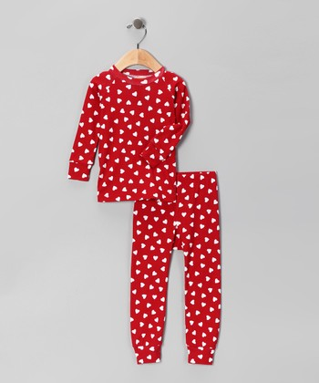 Red Heart Pajama Set - Girls