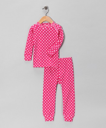 Fuchsia Star Pajama Set - Girls