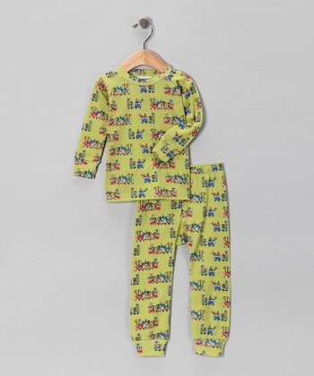 Green Holiday Train Pajama Set - Infant & Toddler